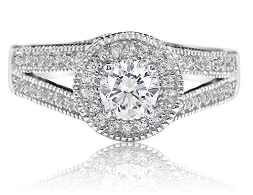 De Lelu Sterling Silver Cubic Zirconia Split Shank Halo Engagement Bridal Ring, Size - Setting Shank Split