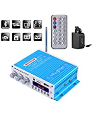NKTECH HY-V10 Bluetooth Digital Amplifier High-Power Hi-Fi Bass 2-Channels DSP 2X 20W RMS Player FM/MP3/USB/TF/DVD for Audio Motorcycle Car Blue with 12VDC 3A Power Adapter