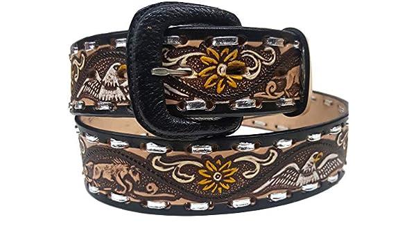 Modestone Hand Painted Eagle Arrow Braid Leather Belt 1.5 Width Tan