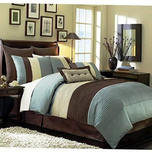 (Kaputar Beige Blue and Brown Luxury Stripe Queen Size 8 Piece Comforter Set   Model CMFRTRSTS - 4594   Full)