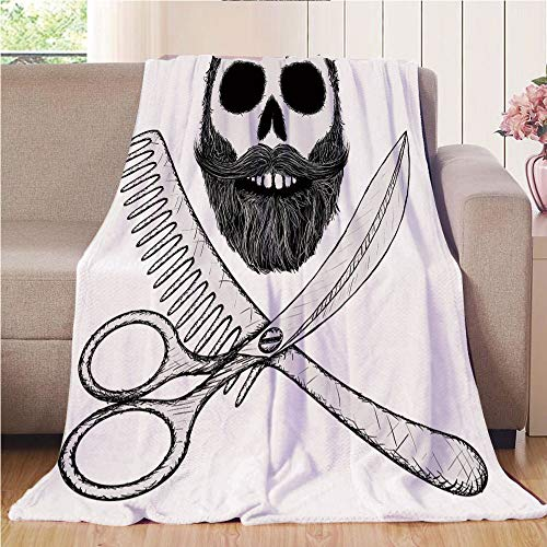 (Throw Blanket Custom Cozy Blanket Perfect for Couch Sofa or Bed Beautiful 3D Printed,Indie,Hipster Skull with Hairstyle Beard and Mustache Comb and Scissors Creepy Retro,Black Light Grey,31.50
