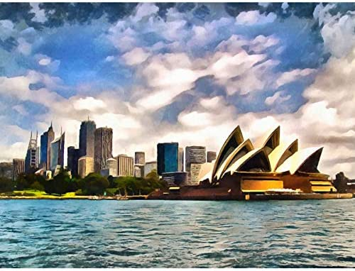 PHOTO PAINTING  SYDNEY SKYLINE OPERA WALL POSTER ART PRINT LF3426
