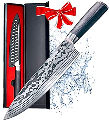 Maxblademark 8 Inch Chef Knife, Pro Kitchen Chef's Knife, Stainless Steel with Ergonomic Handle, Sharp Knives with Damascus Pattern, Knife Guard and Gift Box