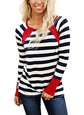 Cyerlia Women Casual Color Block Crewneck Long Sleeve Striped T-Shirt Blouse Tops