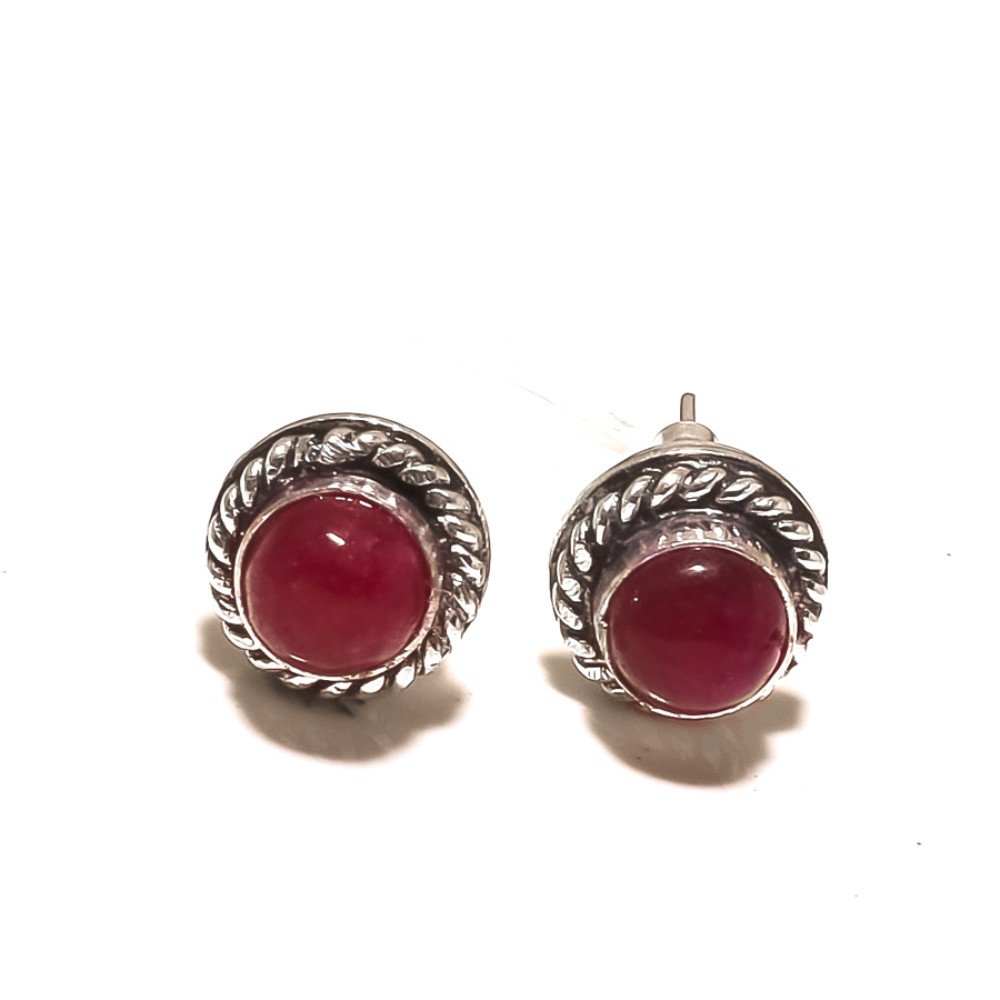 Girls Gift Jewelry Red Dyed Ruby Sterling Silver Overlay 4 Grams Stud//Earring 10 mm