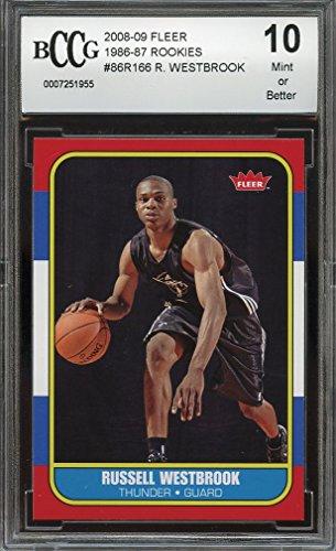 2008-09 fleer 1986-87 rookies #86R166 RUSSELL WESTBROOK rookie card BGS BCCG 10 Graded Card (1986 Rookie Card)