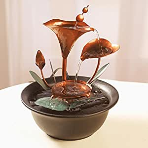 Water Lilies Tabletop Fountain In Copper