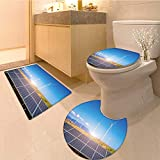 Miki Da 3 Piece Toilet mat set solar panels with wind turbines against mountanis landscape against blue sky 3 Piece Shower Mat set
