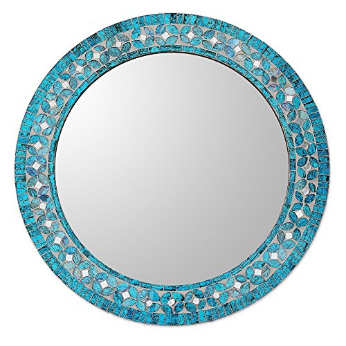 NOVICA MI0043 Turquoise Blossom' Glass Mosaic Wall Mirror (Decor Mosaic Wall)