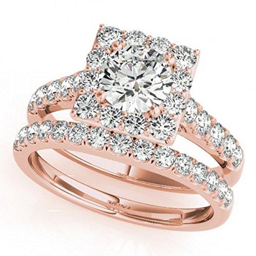 Allurez Diamond Halo Square Shape Border Bridal Ring Set 14k Rose Gold (3.28ct)