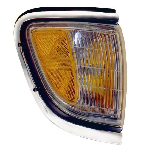 1995-1996-1997 Toyota Tacoma Pickup Truck (4WD 4 Wheel Drive) Corner Park Light Turn Signal Marker Lamp with Chrome Trim Right Passenger Side (95 96 97)