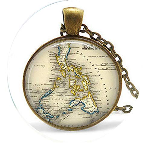 asd Vintage Philippines - Filipina Jewelry - Southeast Asia Map - Philippines Keychain Necklace - Religious Jewelry (Necklace Philippines)