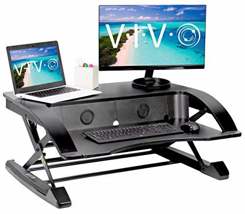 VIVO Black Elegant Height Adjustable 36 inch Standing Desk Converter | Sit Stand Tabletop Dual Monitor and Laptop Riser Workstation (DESK-V000R)