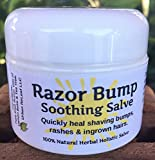 RAZOR BUMP Soothing Salve! 1 oz. Quickly soothe bumps, rashes, ingrown hairs & razor burn. 100% Natural, Vegan. Pure Shea, Tea Tree, Lemon Balm. For face, neck, bikini, body!