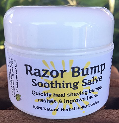 Salve! 1 oz. Quickly soothe bumps, rashes, ingrown hairs & razor burn. 100% Natural, Vegan. Pure Shea, Tea Tree, Lemon Balm. For face, neck, bikini, body! ()