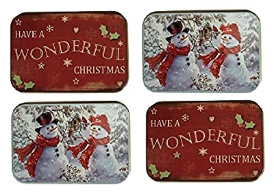 Christmas Gift Card Holders Tin Box Snowman Have a Wonderful Christmas 4 Pack