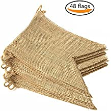 LEOBRO 48 Pcs Burlap Banner, 32 Ft Swallowtail Flag, DIY Decoration for Holidays, Wedding, Camping, Party and Any Occasion Shipping by FBA