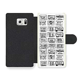 Cool Cute Cassette Illustration in Black on Stylish Design Funda Cuero Sintético para Samsung Galaxy S6 Edge