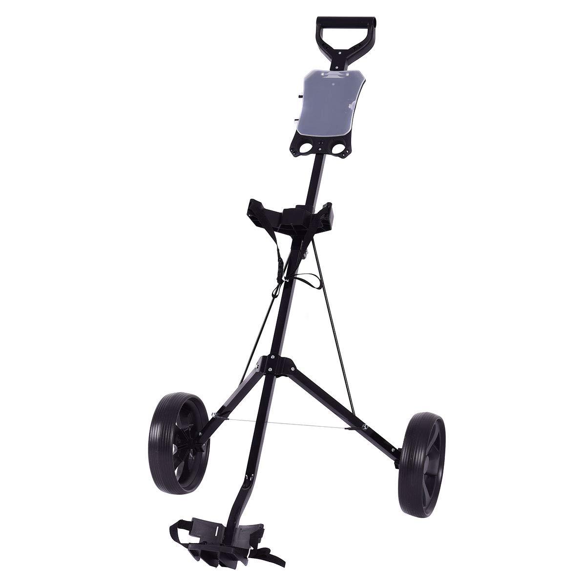 GYMAX Golf Cart, 2 Wheel Foldable Golf Trolley Push Pull Cart