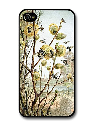Classic Retro Vintage Illustration Of Bees Save The Bees English Autumn case for iPhone 4 4S