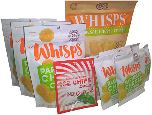 10-Pack Whisps Parmesan Assorted Sizes & Ice Chips Xylitol Peppermint Bundle by Cello