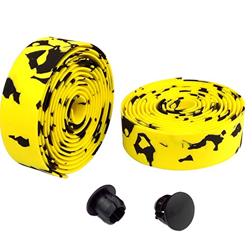 Creation Core Gel Road Bike Fixed Gear Single Speed Bike Handlebar Tape Bike Bar Tape with 2 Bar Plugs (Black&Yellow)