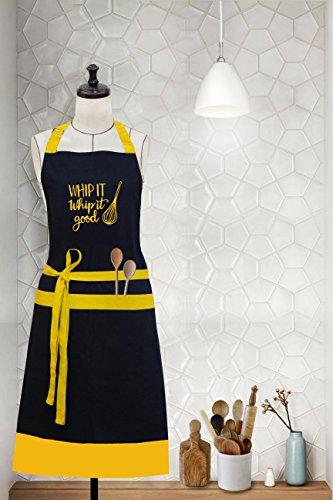 Milano Casa 'Whip It' Centro de bordado algodón delantal con cuello ajustable y bolsillos, perfecto para cocinar, barbacoa,...