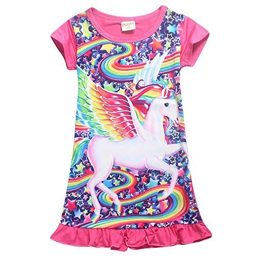 Girls Unicorn Nightgown Pajama Star Rainbow Printed Sleepwear Casual Sleep Shirts Nightie Princess Night Dresses (130 for 4-5Y, Pink,Wing)