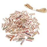 Vosarea 101pcs Mini Wooden Pegs Photo Paper Craft Clips Laundry Clothespins Black (Random Pattern)