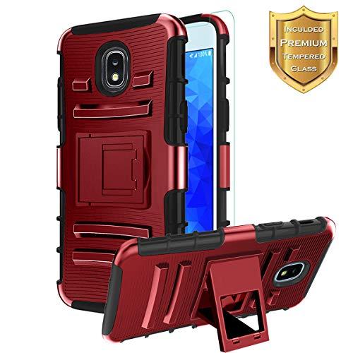 Samsung Galaxy J3 2018 Case,J3 Achieve/J3 Orbit/J3 Express Prime 3/J3V J3 V 3rd Gen/Sol 3/J3 Star/Amp Prime 3/J3 Top/J3 Aura Case+Tempered Screen Protector,Heavy Duty Dual Layer Kickstand Case-PC-Red