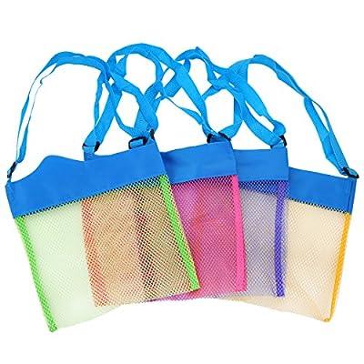 TECH-P Colorful Mesh Beach Bags Sand Away Beach Treasures Seashell Bags Toy Storage Bag