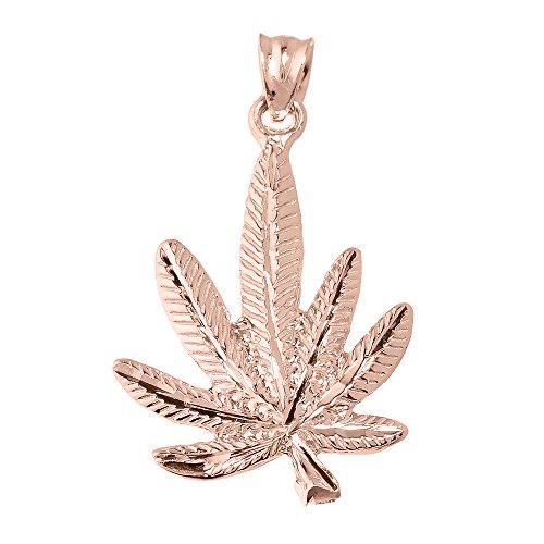 10 ct 471/1000 Or Rose Marijuana- Pendentif