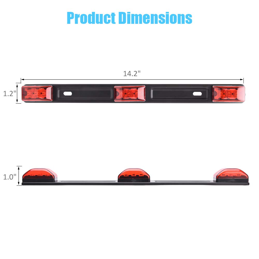 MICTUNING 12V Red Clearance ID Marker Light Bar Indicator 3-Lamp 9 LED Sealed Tail Lamp for Pickup Truck RV Trailer 4333020991