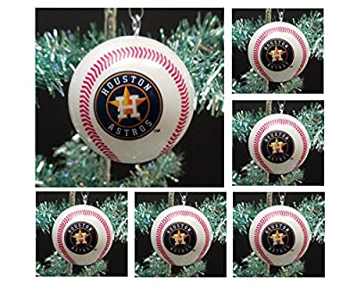 "MLB Major League Baseball Houston Astros Set of 6 Holiday Christmas Tree Ornaments Featuring Astros Team Baseball Ornaments Ranging from 2"" to 2.5"" Tall"