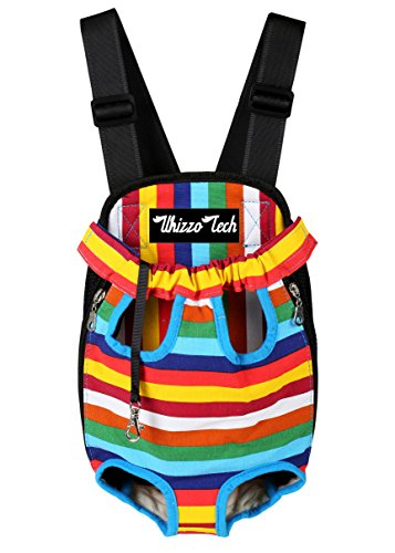 Whizzotech Pet Carrier Backpack, Adjustable Pet Front Cat Dog Carrier Backpack Travel Bag, Legs Out, Easy-Fit for Traveling Hiking Camping PB03 (M, Rainbow)