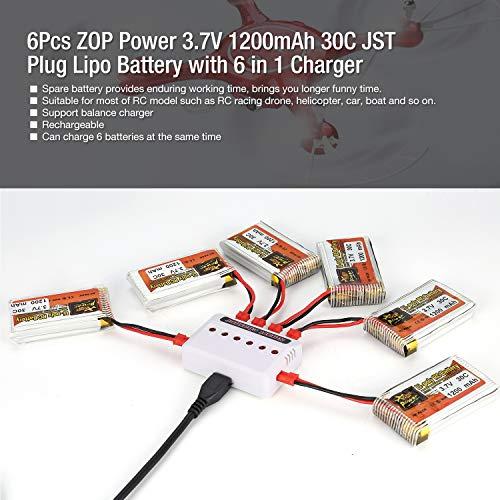 6Pcs ZOP Power 3.7V 1200mAh 30C 1S JST Plug Lipo Batería Recargable con 6 en 1 Batería USB Cargador para RC Racing Drone...