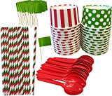 Christmas Ice Cream Sundae Kit - 6 Ounce Polka Dot and Stripe Paper Cups - Plastic Spoons - Christmas Stripe Paper Straws - 24 Each