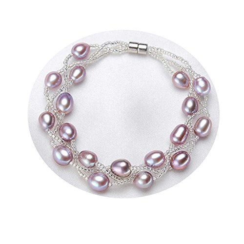 Plated Silver Stretch Beaded Bracelet (FEDONA Silver Plated Two-Row AA+ Quality White Pearl Beaded Bracelets Women Wedding Jewelry Bridesmaids Bridal)