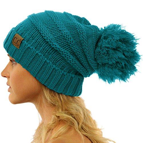 CC Oversized Super Big Slouchy Pom Pom Warm Chunky Stretchy Knit Beanie Hat Solid Teal