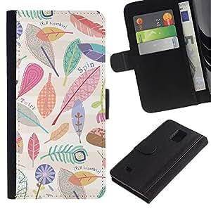 KingStore / Leather Etui en cuir / Samsung Galaxy Note 4 IV / Feuilles Motif Nature Clean