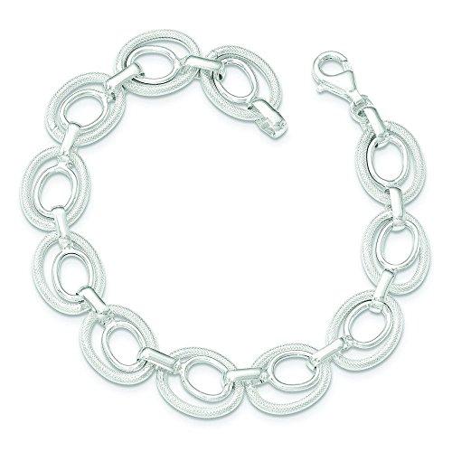 """Argent Sterling poli et texturé, Bracelet lien - 8 """"- JewelryWeb"""
