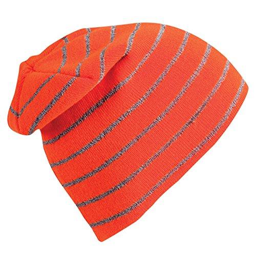 (Turtle Fur Hi-Viz, High Visibility Reflective Knit Striped Neon Beanie, Blaze)