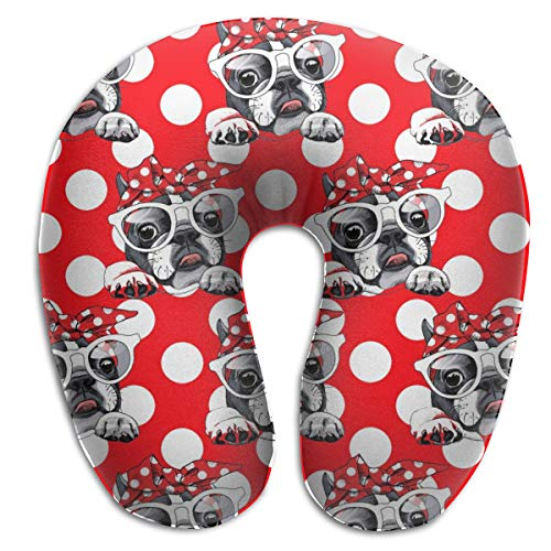 LinBei Bulldog Dog Hipster Bow Memory Foam Travel Neck Pillow Portable Cervical U Pillow Camping