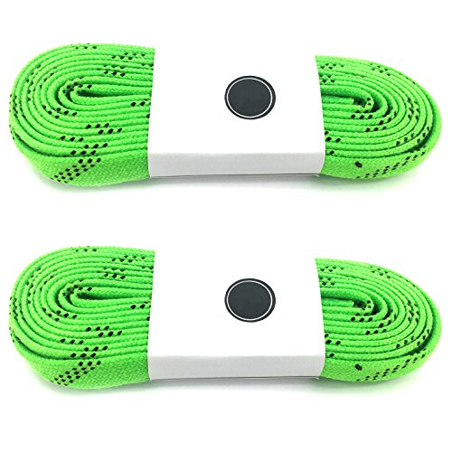 Silfrae Waxed Skate Hockey Laces, Sold in TWO Pairs, heavy Duty, perfect for Hockey, Roller Derby, and Skates, and Boots, Multi-size and Multi-Color Available. (Light Green, 108'') (Mission Hockey Ice Skates)