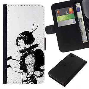 A-type (Astronauta Sketch Negro Mujer Blanca) Colorida Impresión Funda Cuero Monedero Caja Bolsa Cubierta Caja Piel Card Slots Para HTC DESIRE 816