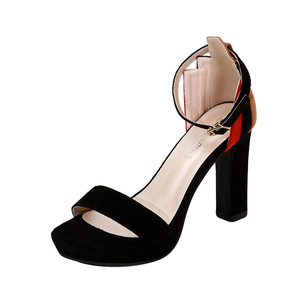 Inverlee Women Contrast Color Peep Open Toe Flock Super High Square Heel Shoes Sandals (6, Black)