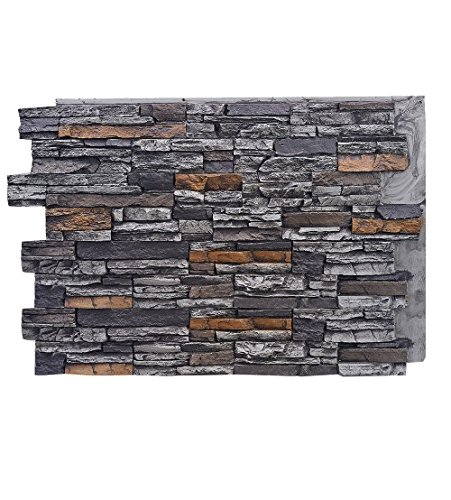 BuyFauxStone 48W X 36H X 1/½D Deep Stacked Stone Wall Panel-GRAPHITE