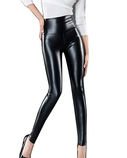 c4e7b951d8 Guiran Mujeres PU Cuero Leggings Cintura Alta Push Up Leggins Skinny  Elásticos Treggings Pantalones Negro XS