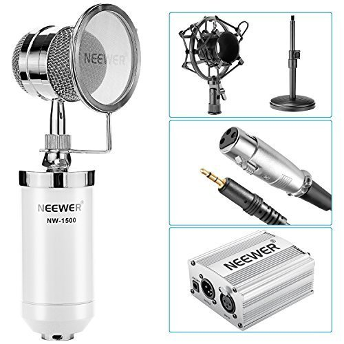 Broadcast Audio Cables (Neewer NW-1500 Desktop Condenser Microphone Kit: Mic (White), 48V Phantom Power Supply(Silver), 3.5mm Male to XLR Female Cable, Mic Stand, Shock Mount, Pop Filter for Broadcast and Sound Recording)