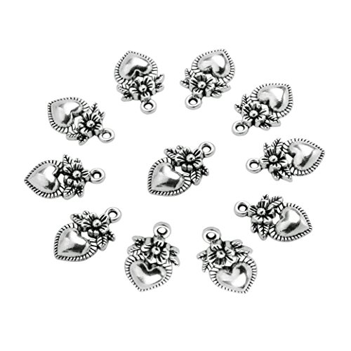 - 20 Pieces Hearts and Flowers Love Powers Lucky Charms Findings Jewelry Pendants Necklace Making 18 X 12mm